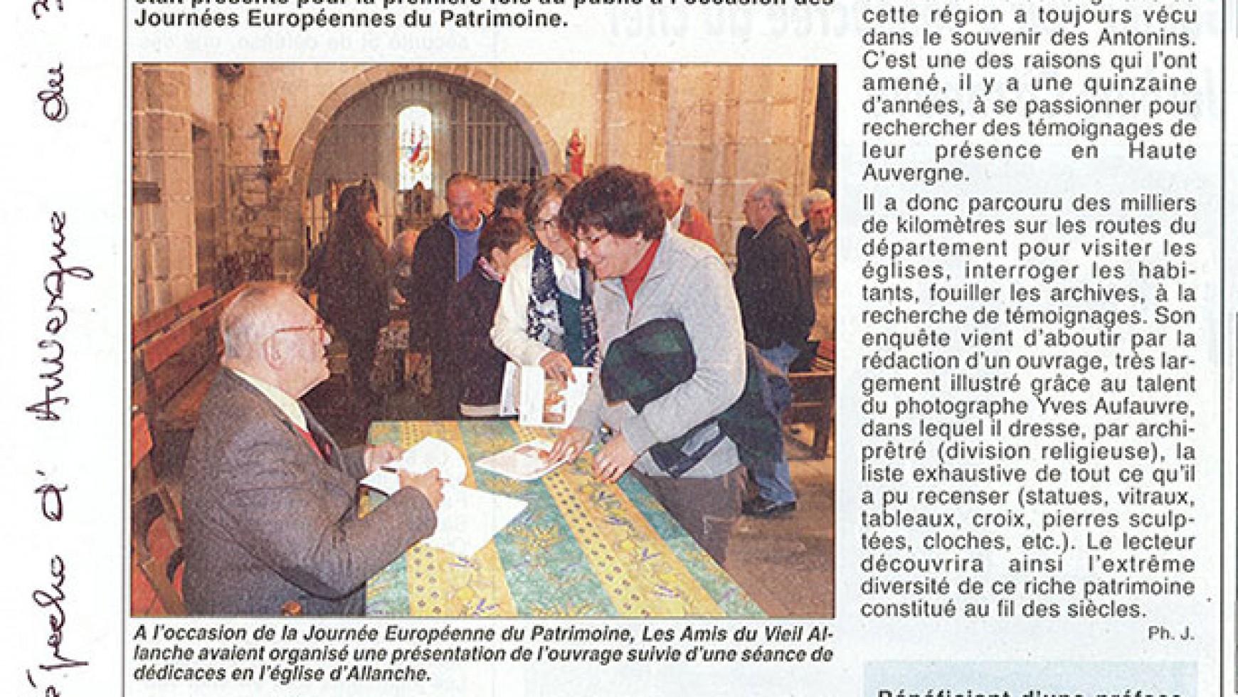 La Dépêche d'Auvergne – du 30 septembre 2016